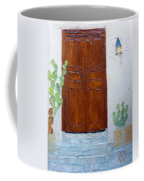 Southwest Portal Coffee Mug featuring the painting Barrio Doorway by Susan Woodward
