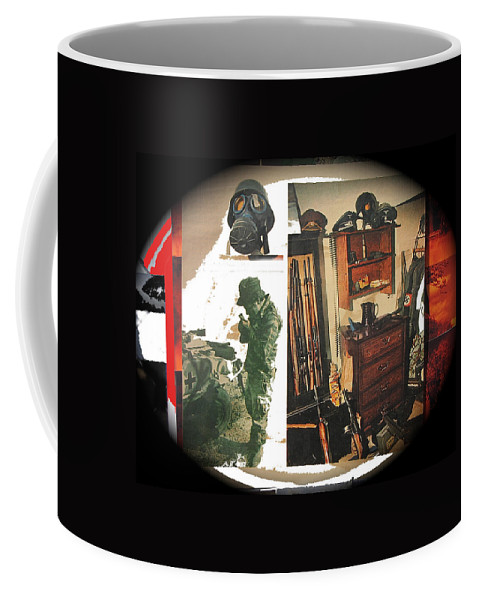 Barry Sadler And Part Of His Weapon's And Nazi Memorabilia Collection Collage Tucson Arizona 1971-2013 Vignetted Color Added Coffee Mug featuring the photograph Barry Sadler And Part Of His Weapon's Nazi Memorabilia Collection Collage Tucson Arizona 1971-2013 by David Lee Guss