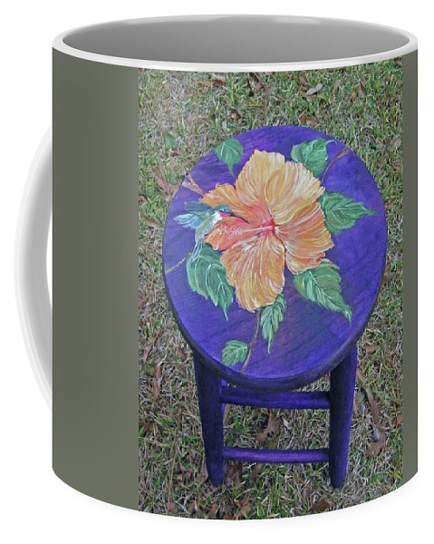 Custom Painted Barstool Coffee Mug featuring the mixed media Barstool Hibiscus by Lizi Beard-Ward
