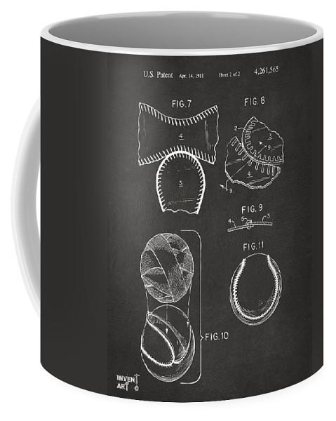 Baseball Coffee Mug featuring the digital art Baseball Construction Patent 2 - Gray by Nikki Marie Smith