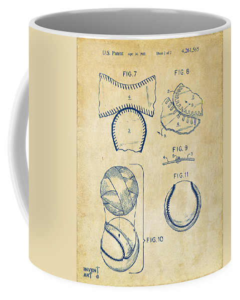 Baseball Coffee Mug featuring the digital art Baseball Construction Patent 2 - Vintage by Nikki Marie Smith