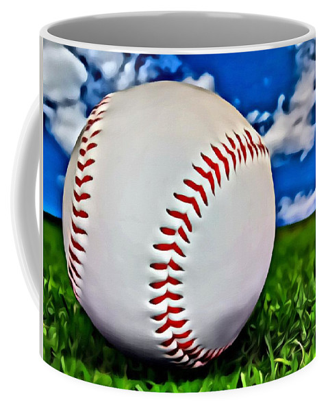Mlb Coffee Mug featuring the painting Baseball In The Grass by Florian Rodarte