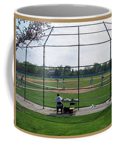 Composite Coffee Mug featuring the photograph Baseball Playing Hard 3 Panel Composite 01 by Thomas Woolworth