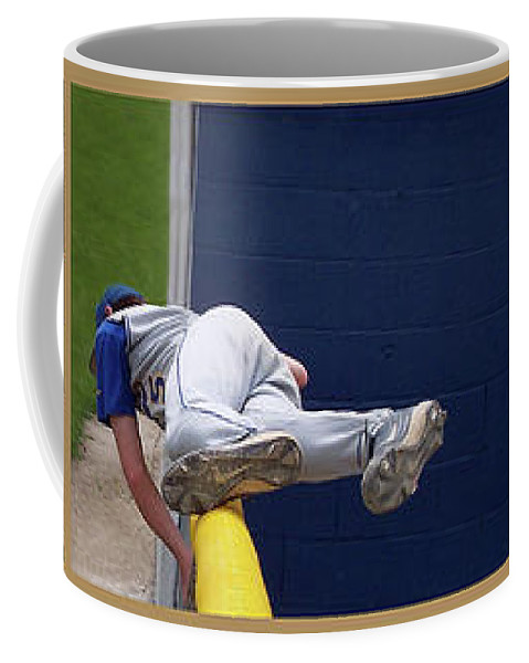 Composite Coffee Mug featuring the photograph Baseball Playing Hard 3 Panel Composite 02 by Thomas Woolworth