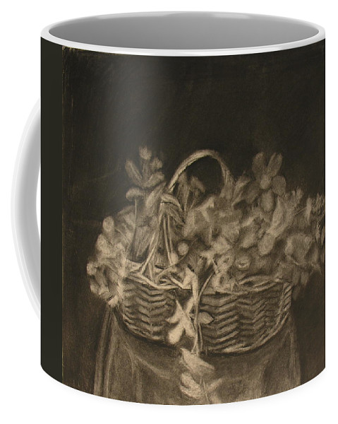 Charcoal Drawing Of Basket Of Flowers Coffee Mug featuring the painting Basket of Flowers by Sheila Mashaw