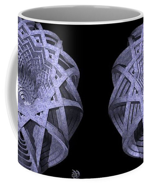 Stereogram Coffee Mug featuring the digital art Basket Of Hyperbolae - Stereogram by David Voutsinas