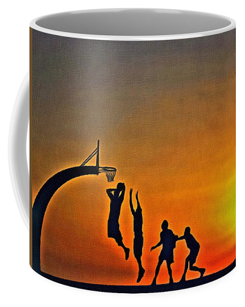 Sunrise Coffee Mug featuring the painting Basketball Sunrise by Florian Rodarte