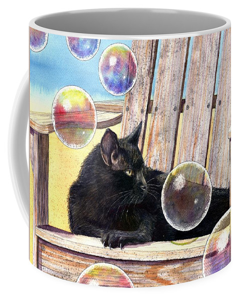 Cat Coffee Mug featuring the painting Basking In Bubbles by Catherine G McElroy