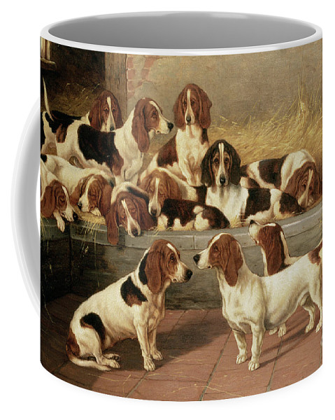 Dog Coffee Mug featuring the painting Basset Hounds In A Kennel by VT Garland