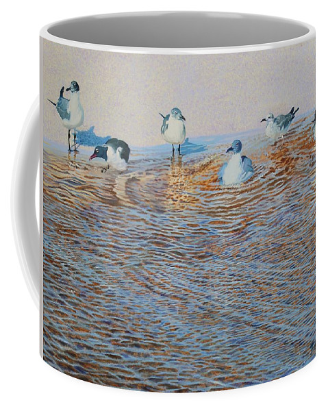 Florida Coffee Mug featuring the painting Bath Time Original For Sale by Alan Mintz