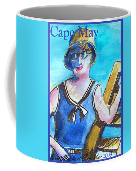 Beach Coffee Mug featuring the painting Bathing Suit Beauty Poster by Eric Schiabor