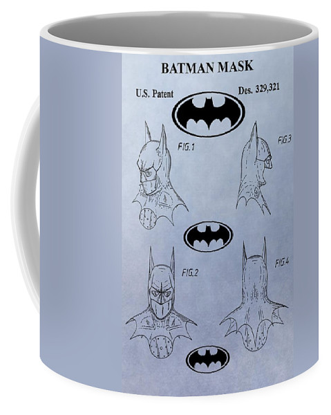Batman Mask Patent Coffee Mug featuring the digital art Batman Mask Patent by Dan Sproul