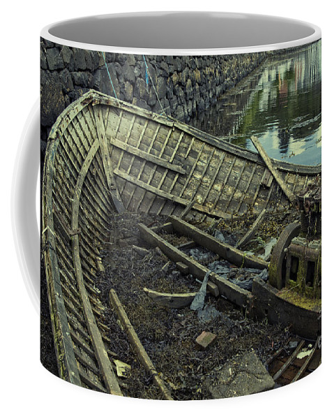 Boat Coffee Mug featuring the photograph Battered Boat by Rob Hawkins