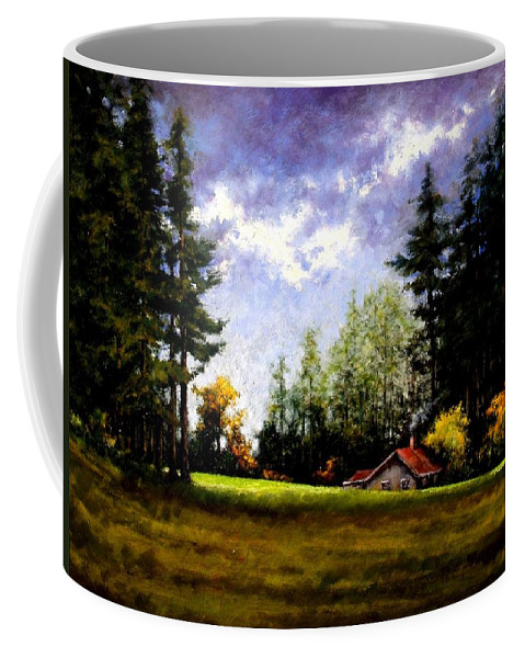 Landscape Coffee Mug featuring the painting Battle Ground Park by Jim Gola