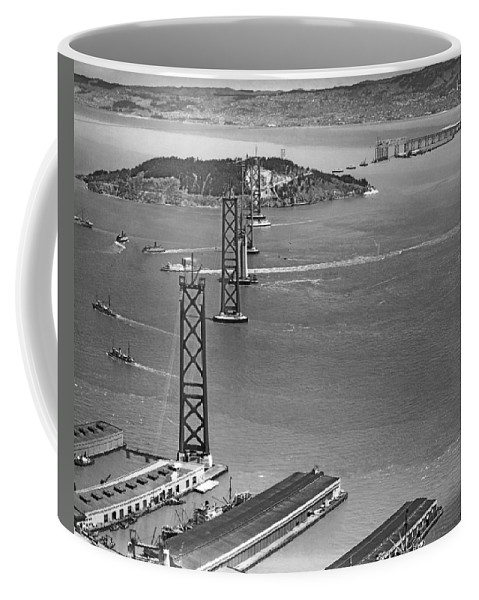 1936 Coffee Mug featuring the photograph Bay Bridge Under Construction by Charles Hiller