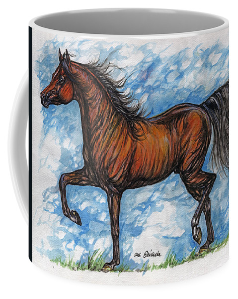 Psychodelic Coffee Mug featuring the painting Bay Horse Running by Angel Ciesniarska
