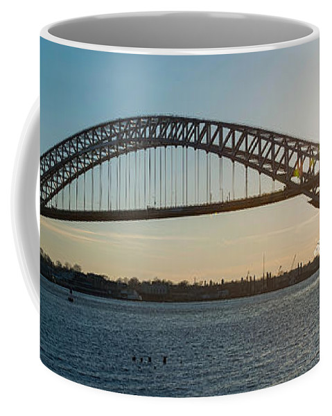 Sunset Coffee Mug featuring the photograph Bayonne Bridge Panoram Sunset by Michael Ver Sprill