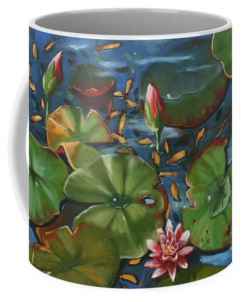 Water Lilies Coffee Mug featuring the painting Lily Pond II by CB Hume