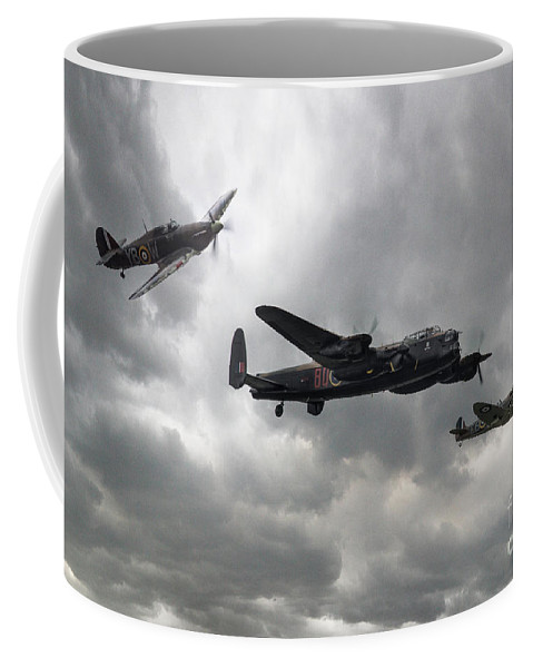 Aviation Coffee Mug featuring the digital art Bbmf Lancaster Spitfire Hurricane by J Biggadike