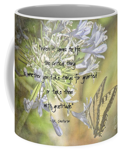 Gratitude Coffee Mug featuring the photograph Be Grateful by Peggy Hughes