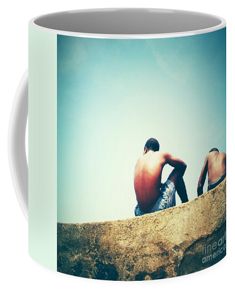 Square Coffee Mug featuring the photograph Beach 7 by Neil Overy