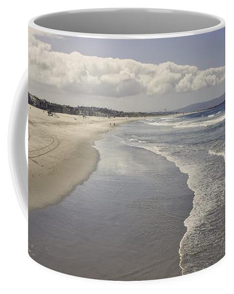 Tranquil Scene Coffee Mug featuring the photograph Beach At Santa Monica by Kim Hojnacki