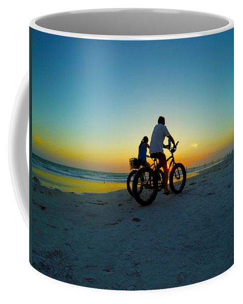 Beach Coffee Mug featuring the photograph Beach Biking by Kevin Cable