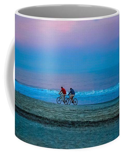 Beach Cottage Life Coffee Mug featuring the photograph Beach Biking by Mary Hahn Ward