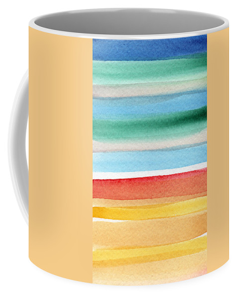 Beach Landscape Painting Coffee Mug featuring the painting Beach Blanket- colorful abstract painting by Linda Woods
