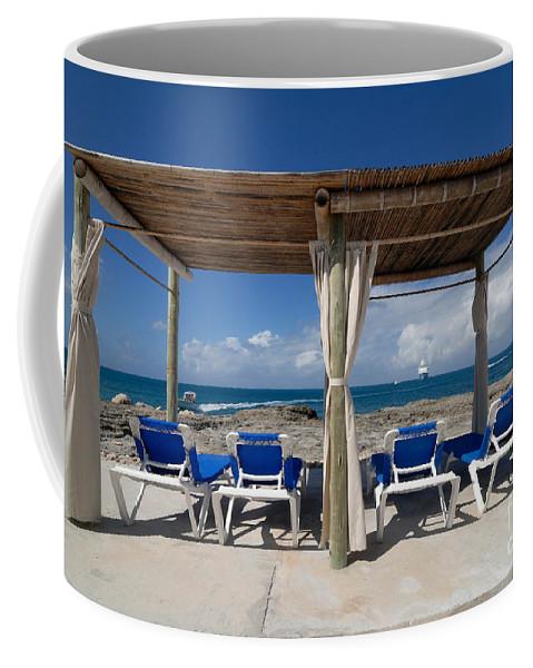Bahamas Coffee Mug featuring the photograph Beach Cabana With Lounge Chairs by Amy Cicconi