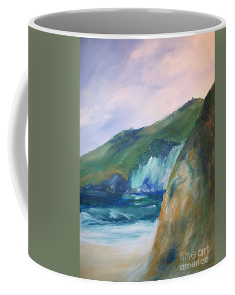 California Coast Coffee Mug featuring the painting Beach California by Eric Schiabor