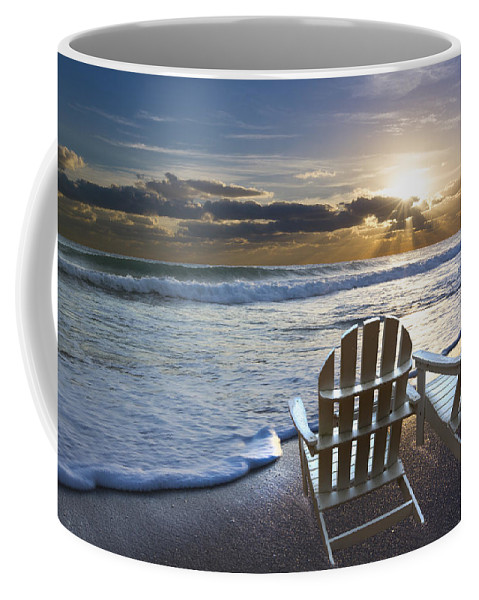 Clouds Coffee Mug featuring the photograph Beach Chairs by Debra and Dave Vanderlaan
