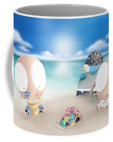 Beach Coffee Mug featuring the digital art Beach Day by Dana Alfonso