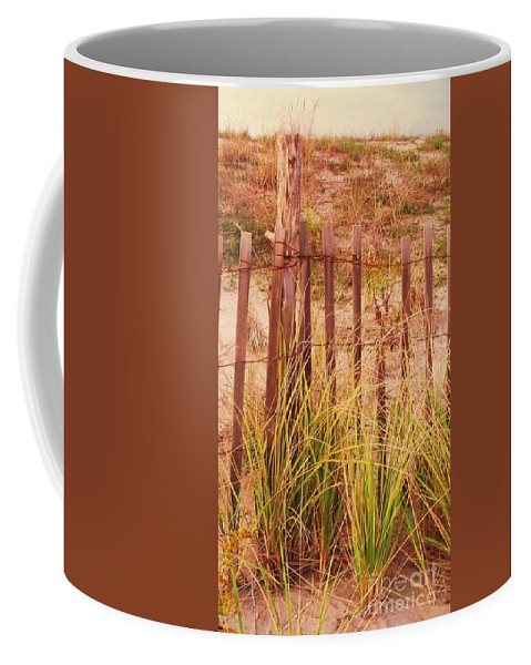 Beach Coffee Mug featuring the photograph Beach Dune Fence At Cape May Nj by Eric Schiabor