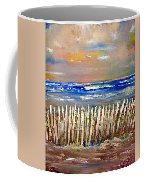 Fence Coffee Mug featuring the painting Beach Fence by Patricia Taylor