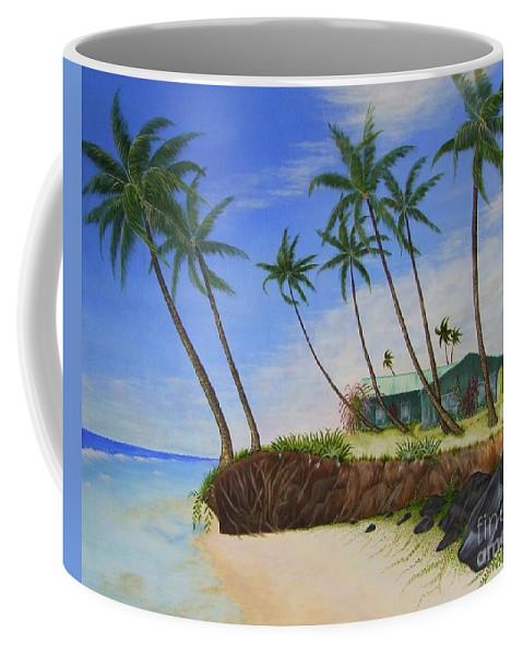 Beach House Coffee Mug featuring the painting Beach House by Mary Deal