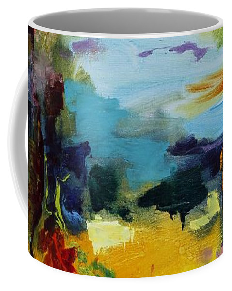 Abstract Coffee Mug featuring the painting Beach Houses by Regina Valluzzi
