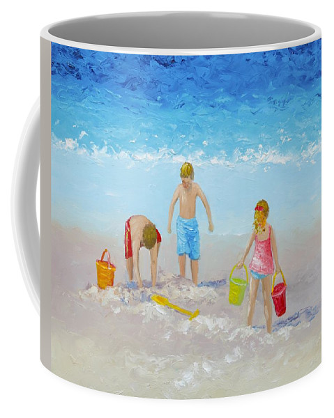 Beach Coffee Mug featuring the painting Beach Painting - Sandcastles by Jan Matson
