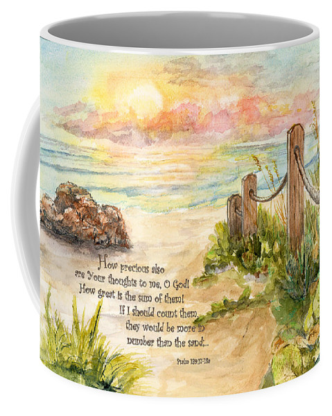 Ocean Coffee Mug featuring the painting Beach Post Sunrise Psalm 139 by Janis Lee Colon