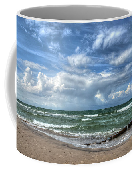 Ostsee Coffee Mug featuring the pyrography Beach Prerow by Steffen Gierok
