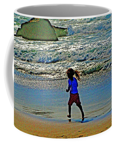 California Beaches Coffee Mug featuring the digital art Beach Run by Joseph Coulombe