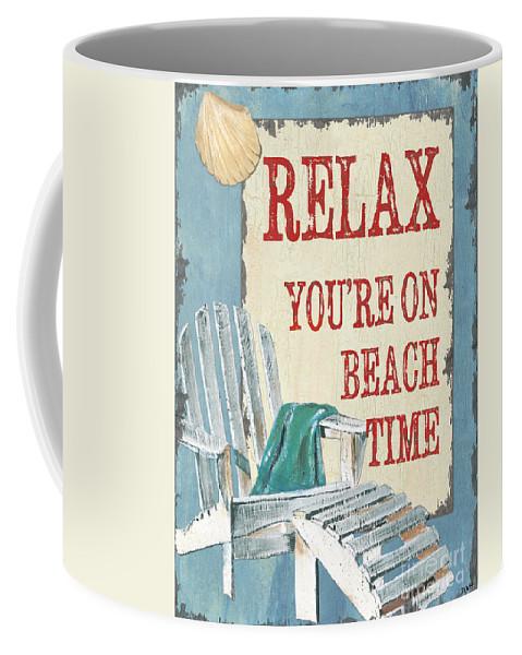 Beach Coffee Mug featuring the painting Beach Time 1 by Debbie DeWitt