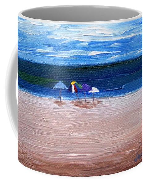 Beach Coffee Mug featuring the painting Beach Umbrellas by Jamie Frier