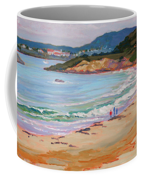 Carmel Coffee Mug featuring the painting Beach Walk by Rhett Regina Owings