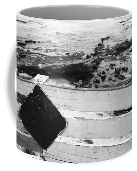 Sign Coffee Mug featuring the photograph Beachside Warning Horizontal Grayscale by Heather Kirk