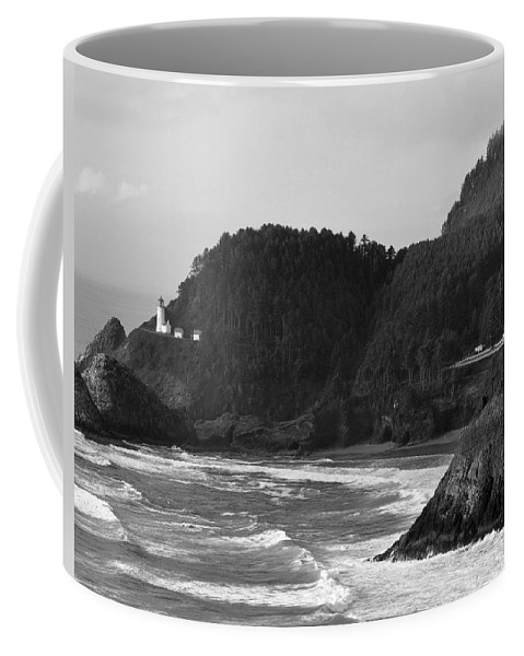 Black Coffee Mug featuring the painting Beacon On The Bluff by Kirt Tisdale