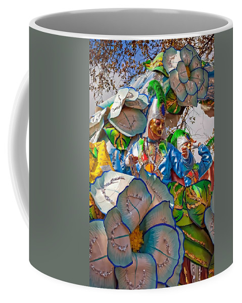 New Orleans Coffee Mug featuring the photograph Bead Tossing by Steve Harrington