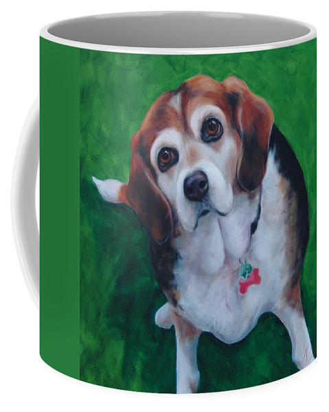 Beagle Coffee Mug featuring the painting Beagle by Pet Whimsy Portraits