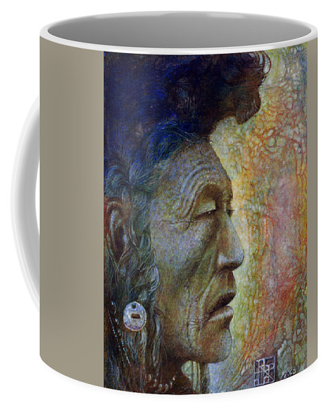 Bear Bull Coffee Mug featuring the painting Bear Bull Shaman by Otto Rapp