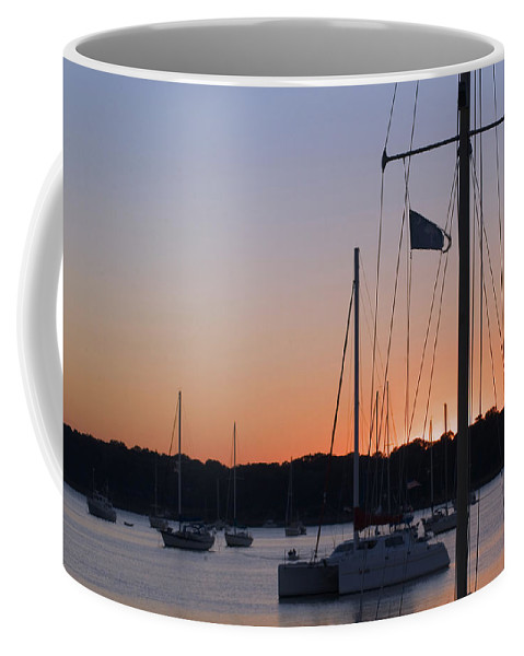 Ships At Harbor Coffee Mug featuring the photograph Beaufort Sc Sunset by Bob Pardue